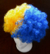 Blue and Yellow Afro Wig.